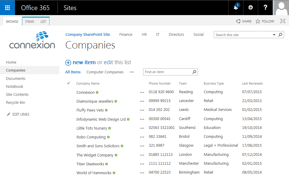 List of Companies in SharePoint